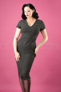 50s Amy Stripes Pencil Dress in Black