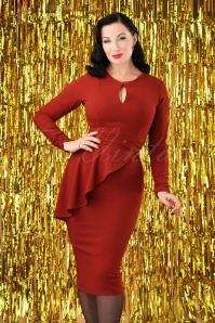 Bettie Page Clothing Cristina Rust Dress 100 21 28189 20181010 0003W