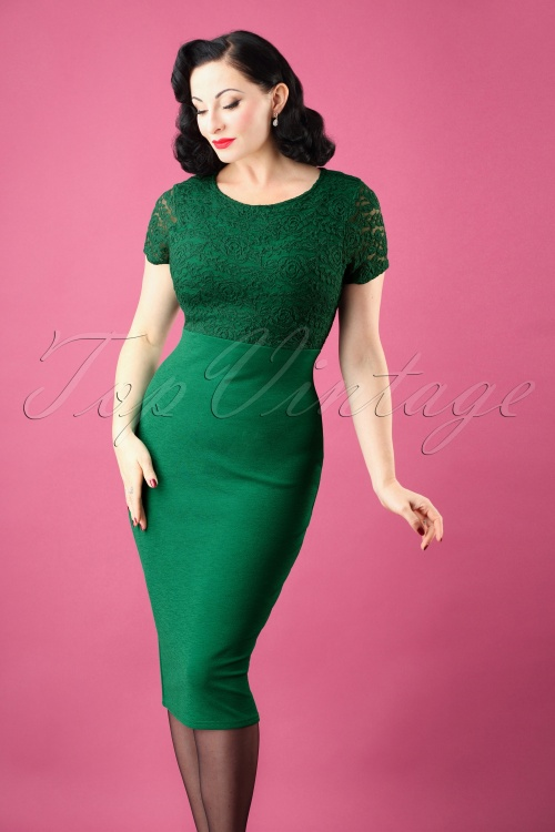 Vintage Chic Cap Sleeve Emerald Pencil Dress 100 40 26343 20180926 0005W