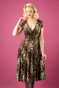 50s Layla Cross Over Swing Dress in Leopard