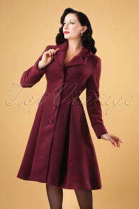 Hearts & Roses 50s Lauren Swing Coat in Wine Red