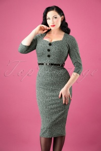 50s Roxanne Pencil Dress in Green Melange