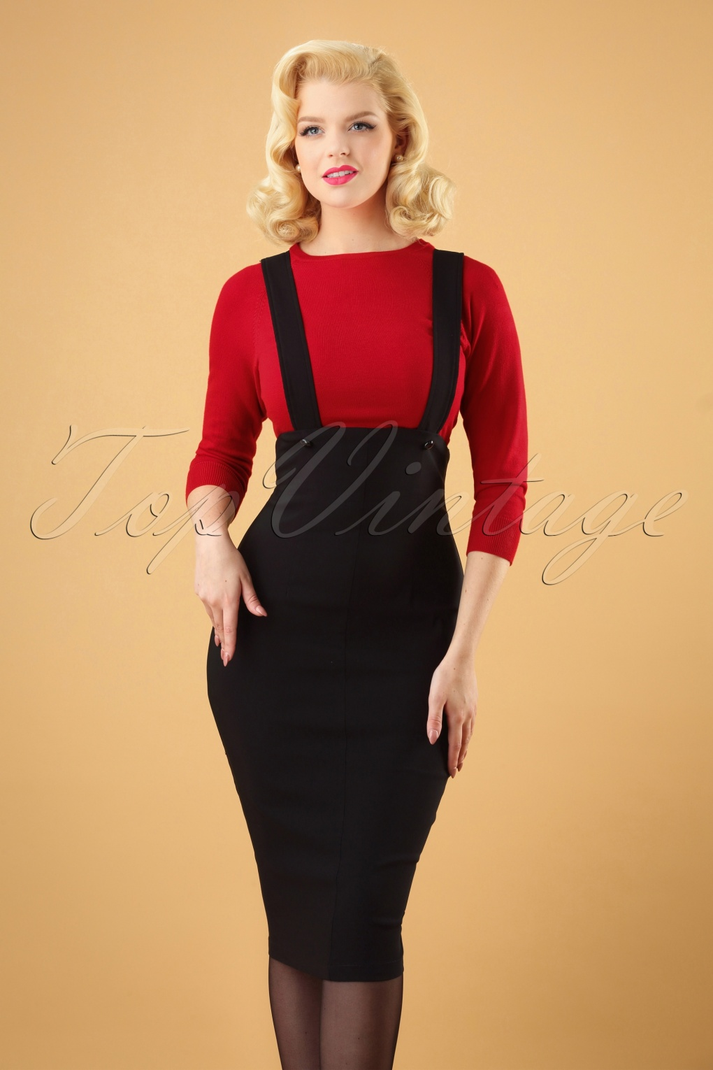 50s Skirt Styles | Poodle Skirts, Circle Skirts, Pencil Skirts 50s Jumper Pencil Skirt in Black £80.29 AT vintagedancer.com