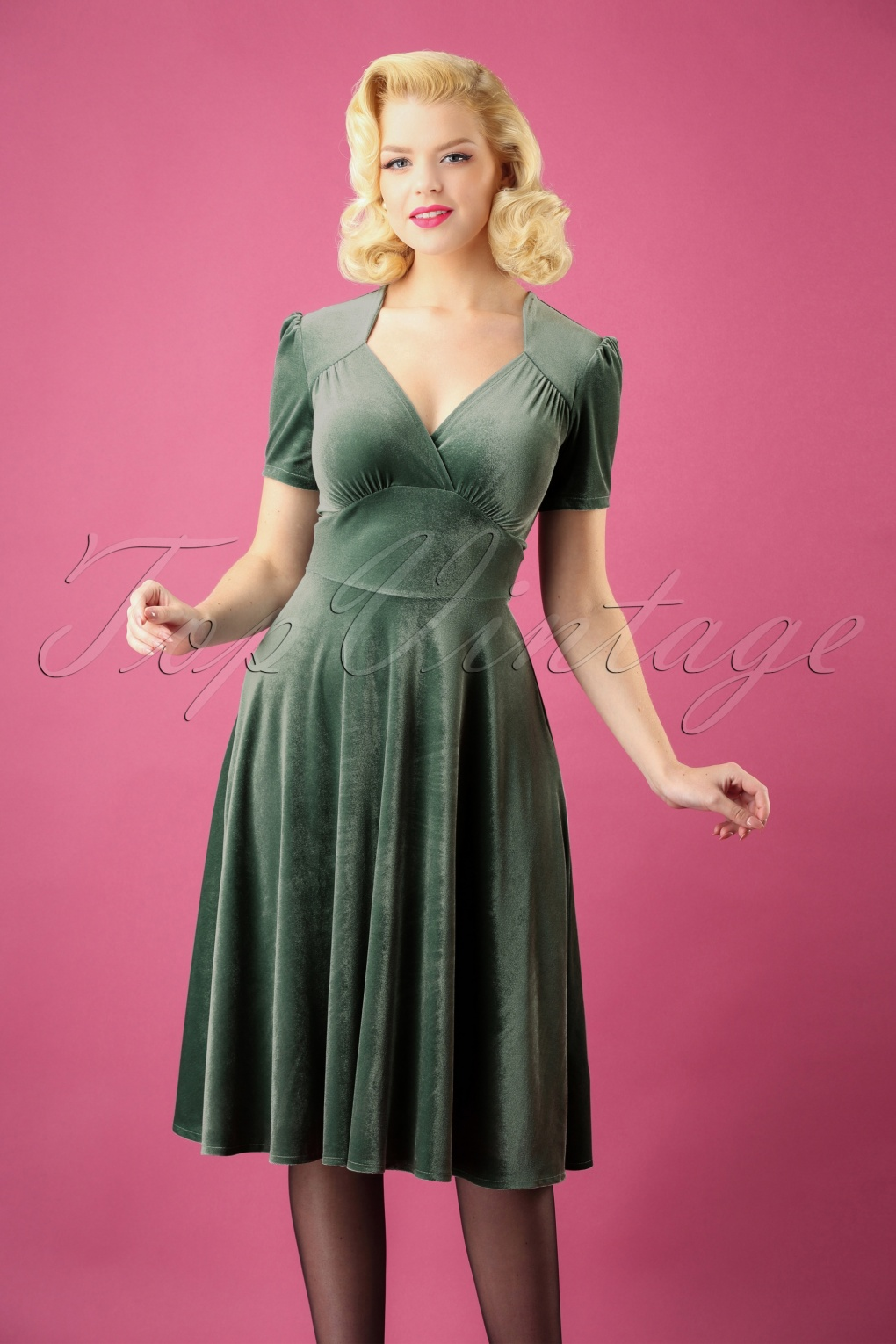1940s Dresses | 40s Dress, Swing Dress 50s Hollywood Circle Dress in Mint Velvet £108.97 AT vintagedancer.com