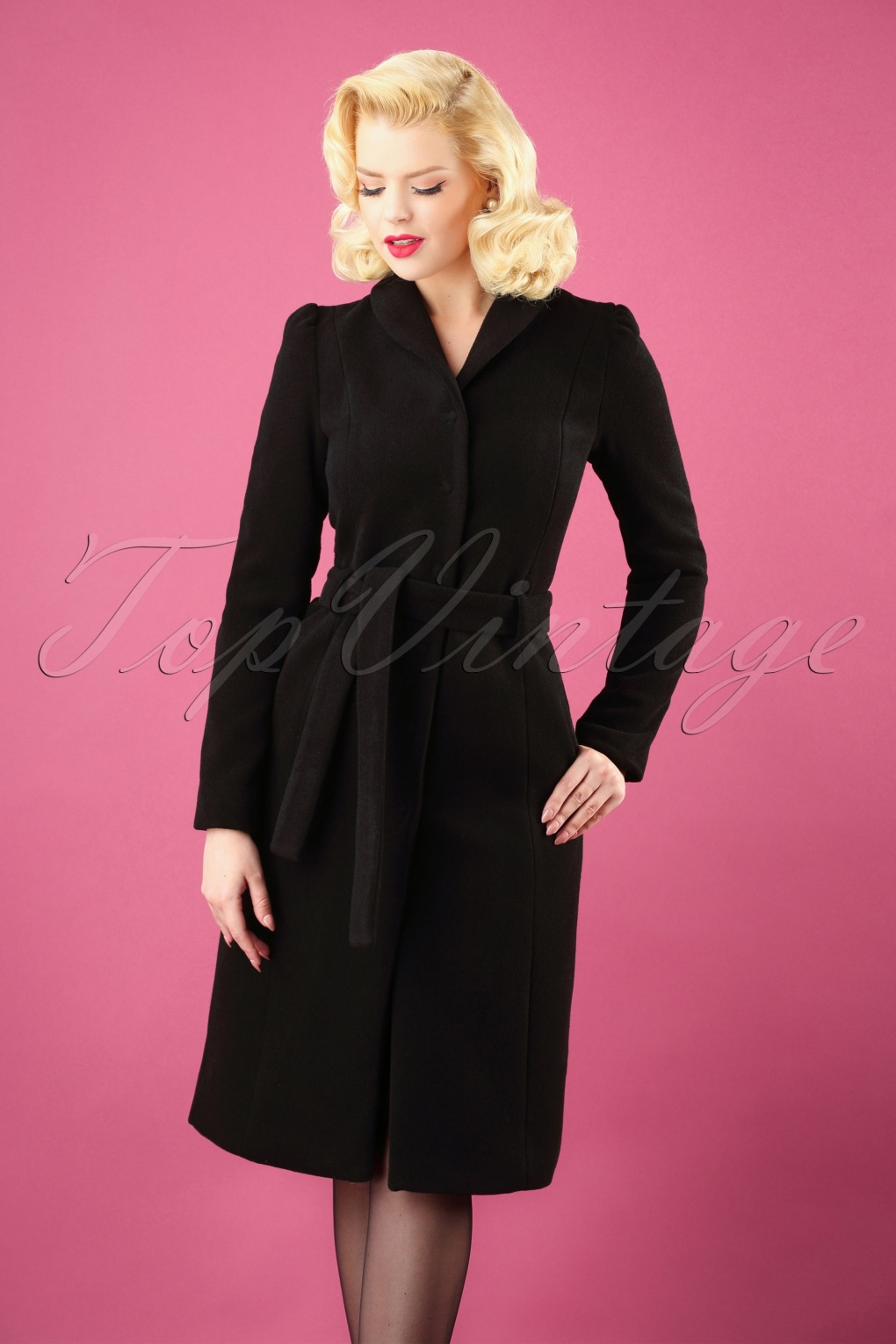 1950s Jackets, Coats, Bolero | Swing, Pin Up, Rockabilly 50s Dahlia Wool Coat in Black £233.61 AT vintagedancer.com