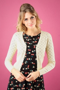 King Louie 40s Heart Ajour Cardigan in Cream