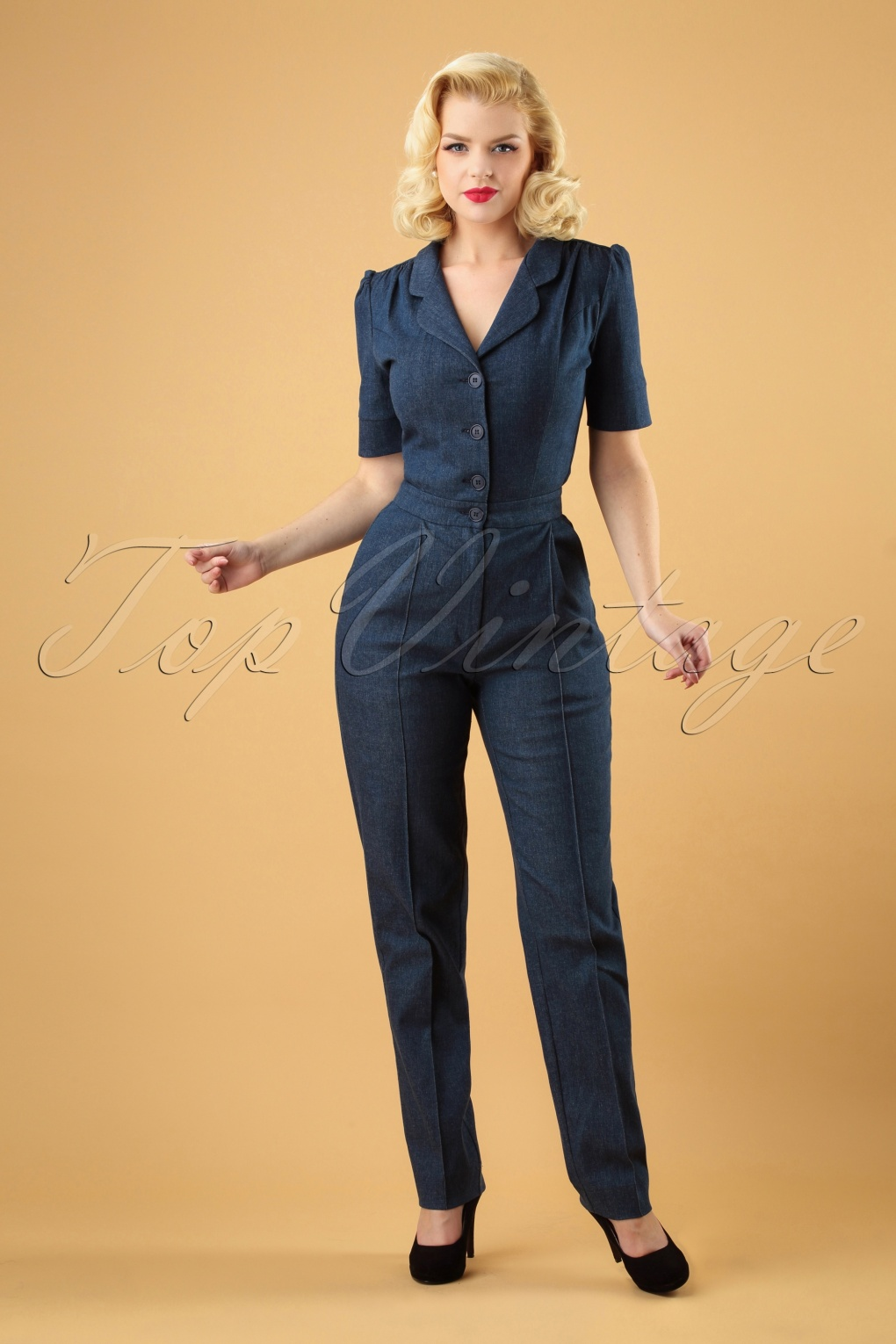 1940s Swing Pants & Sailor Trousers- Wide Leg, High Waist 40s Classic Jumpsuit in Denim £142.49 AT vintagedancer.com