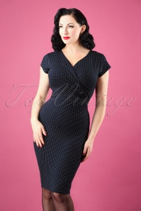 50s The Frieda Pindot Pencil Dress in Navy