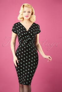 50s The Frieda Cat Pencil Dress in Black and Mint