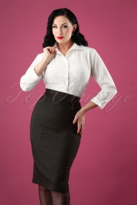 50s Bernice Pencil Skirt in Charcoal