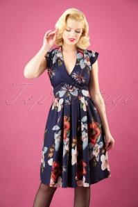 50s Eva Hibiscus Dream Dress in Blue