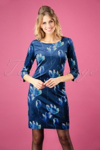 Smashed Lemon Blue Floral Velvet Dress 100 39 26122 20181012 0003W
