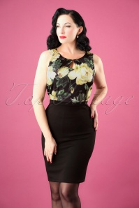 Smashed Lemon Black and Light Yellow Floral Pencil Dress 25607 20180724 0002W