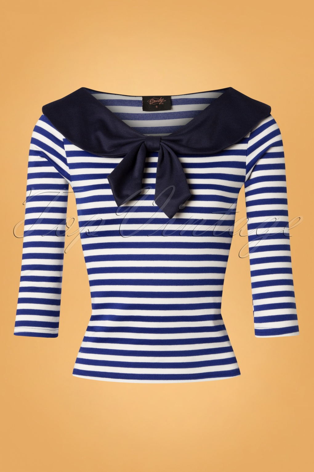 Vintage Sailor Clothes, Nautical Theme Clothing 50s Betsy Stripes Tie Top in Blue and White £40.33 AT vintagedancer.com