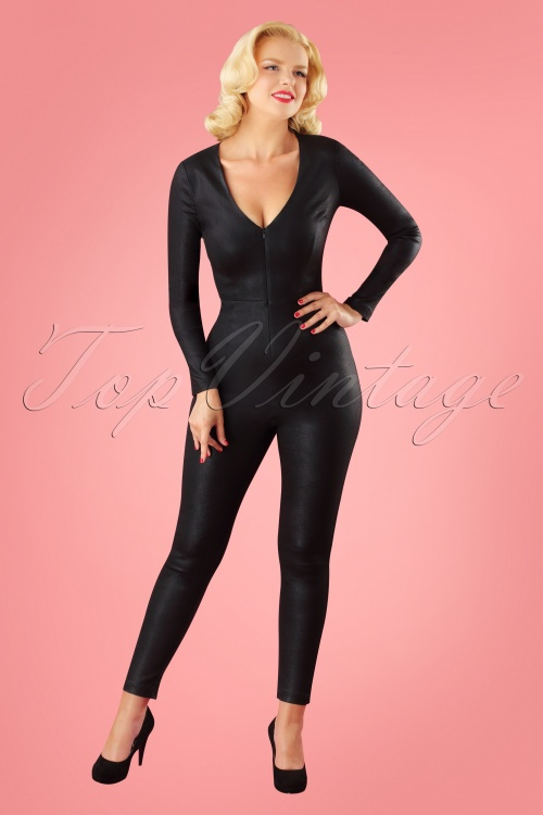 Collectif Clothing Selina Feline Jumpsuit in Black 24803 20180629 1W