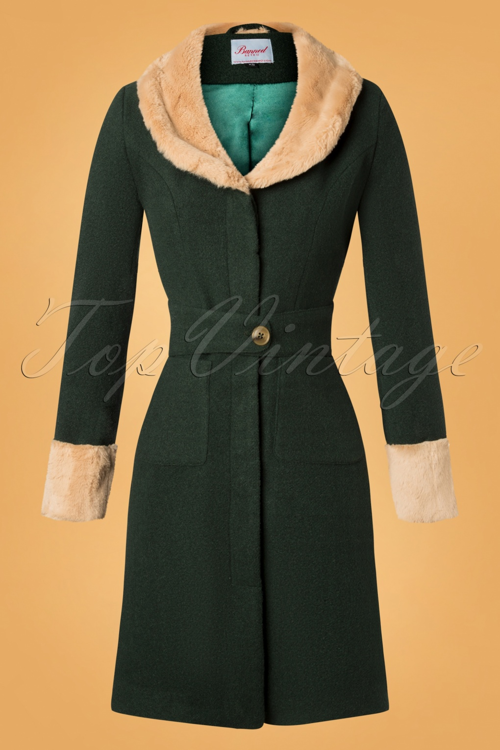 History of 1920s Coats, Furs and Capes 40s Fantastic Fur Collar Coat in Green £106.17 AT vintagedancer.com