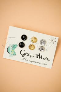Why Choose When You Can Have Them All Stud Earring Set Années 50 en Noir, Doré et Argenté