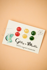 Why Choose When You Can Have Them All Stud Earring Set Années 50 en Vert, Rouge et Miel