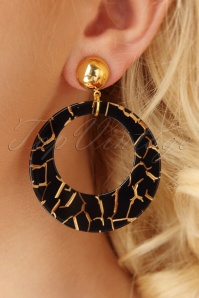 Glitz o Matic Black and Gold Hoop earrings 333 14 26652 11022018 002W