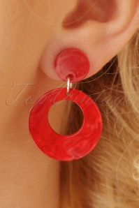 50s Alluring Hoop Earrings in Red