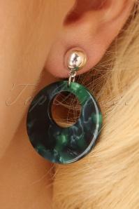 50s Doris Hoop Earrings in Silver and Green