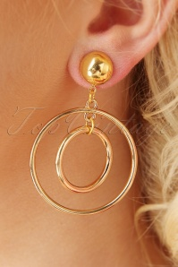 50s Double Hoop Earrings in Gold