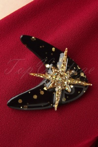 Glitz o Matic Black and Gold Brooch 340 39 26670 11022018 003W