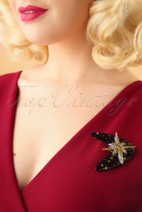 Glitz o Matic Black and Gold Brooch 340 39 26670 11022018 002W
