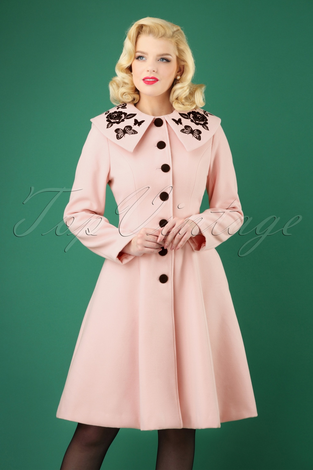 Retro Tiki Dress – Tropical, Hawaiian Dresses 50s Hermione Coat in Pink £121.18 AT vintagedancer.com