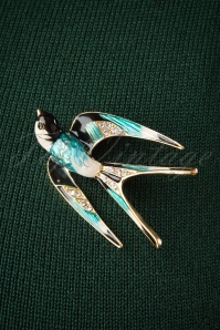 50s Sparkly Swallow Brooch in Gold and Blue