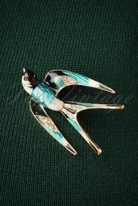Sparkly Swallow Brooch Années 50 en Bleu et Doré