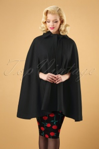 50s Caroline Cape Coat in Black