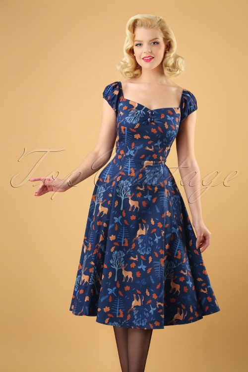 Collectif Clothing Dolores Forest Friends Swing Dress 24825 20180627 0004W