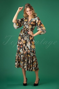 70s Phoebe Floral Midi Dress in Black