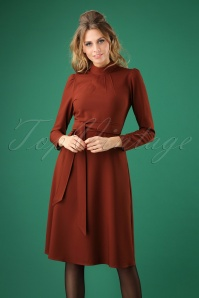 70s High Neck A-Line Dress in Rust