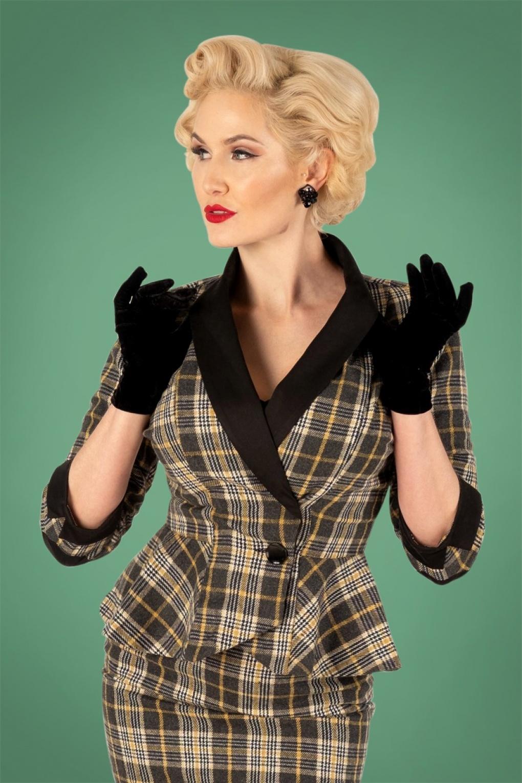 Vintage Suits Women | Work Wear & Office Wear 40s Millie Tartan Jacket in Grey and Mustard £71.24 AT vintagedancer.com