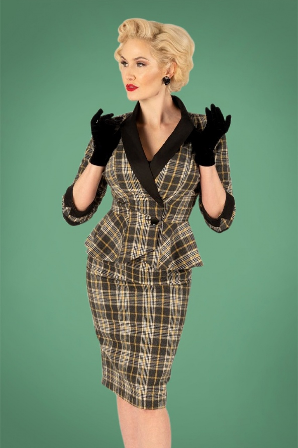 Women's 1940s Victory Suits and Utility Suits 40s Millie Tartan Pencil Skirt in Grey and Mustard £61.01 AT vintagedancer.com