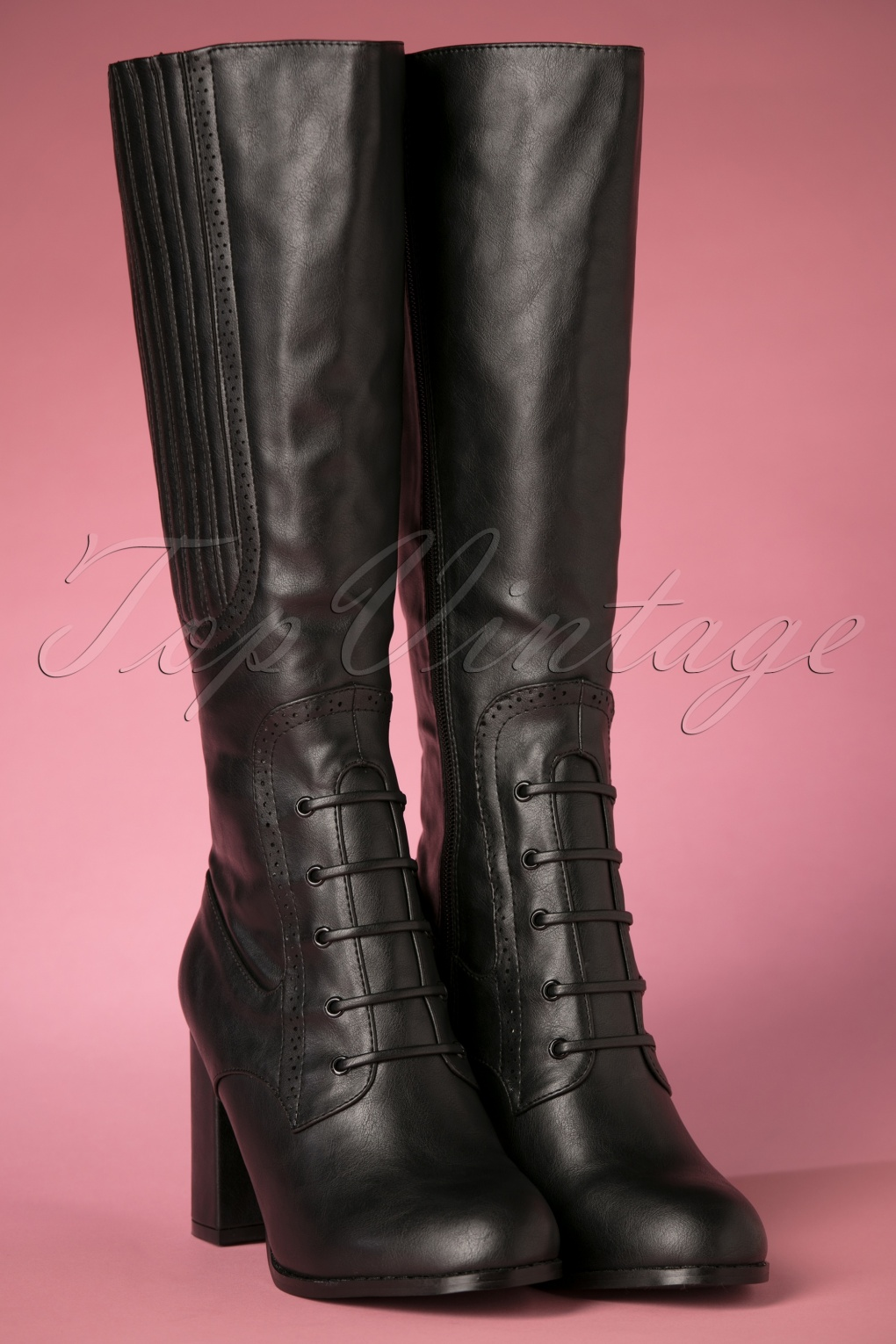 Vintage Style Shoes, Vintage Inspired Shoes 40s Roscoe Boots in Black £91.77 AT vintagedancer.com