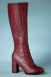 Banned Retro 40s Roscoe Boots in Burgundy