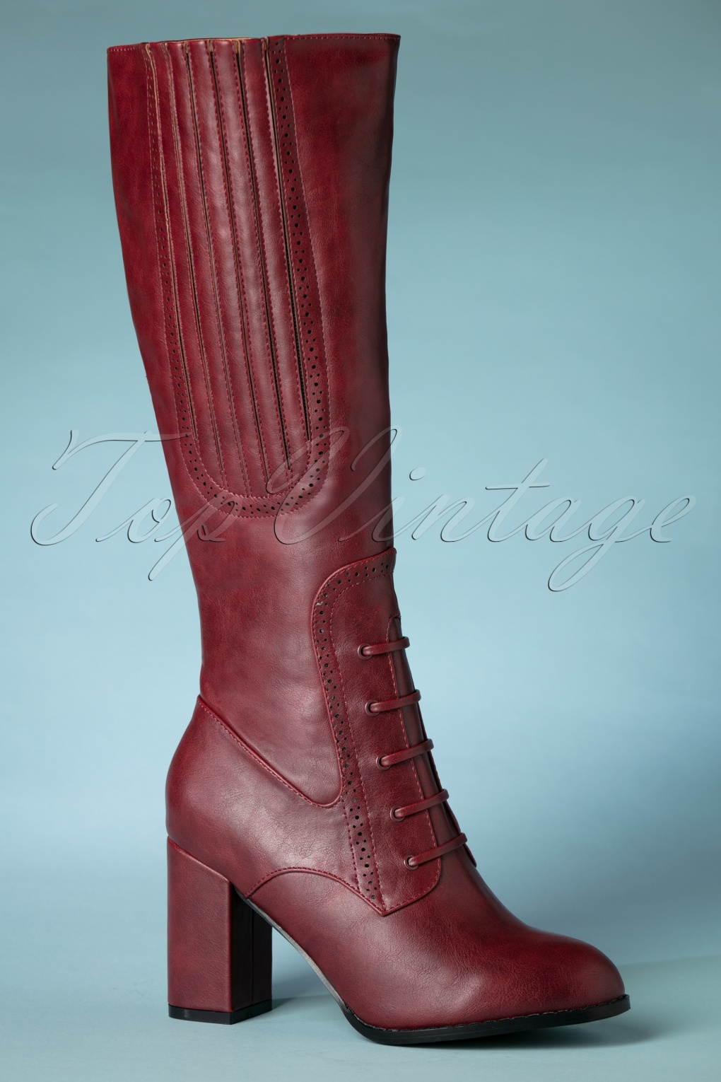60s Shoes, Boots | 70s Shoes, Platforms, Boots 40s Roscoe Boots in Burgundy £90.33 AT vintagedancer.com
