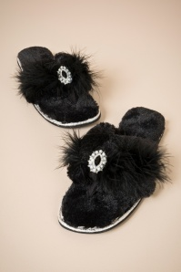 50s Zoe Plush Toe Slippers in Black