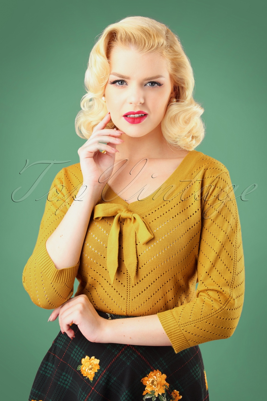 1950s Sweaters, 50s Cardigans, 50s Jumpers 50s Charlie Chevron Top in Mustard £33.16 AT vintagedancer.com