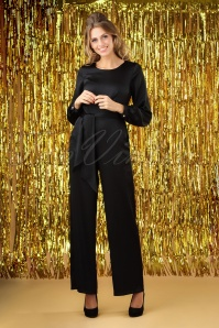 70s Satin Puff Sleeve Jumpsuit in Black