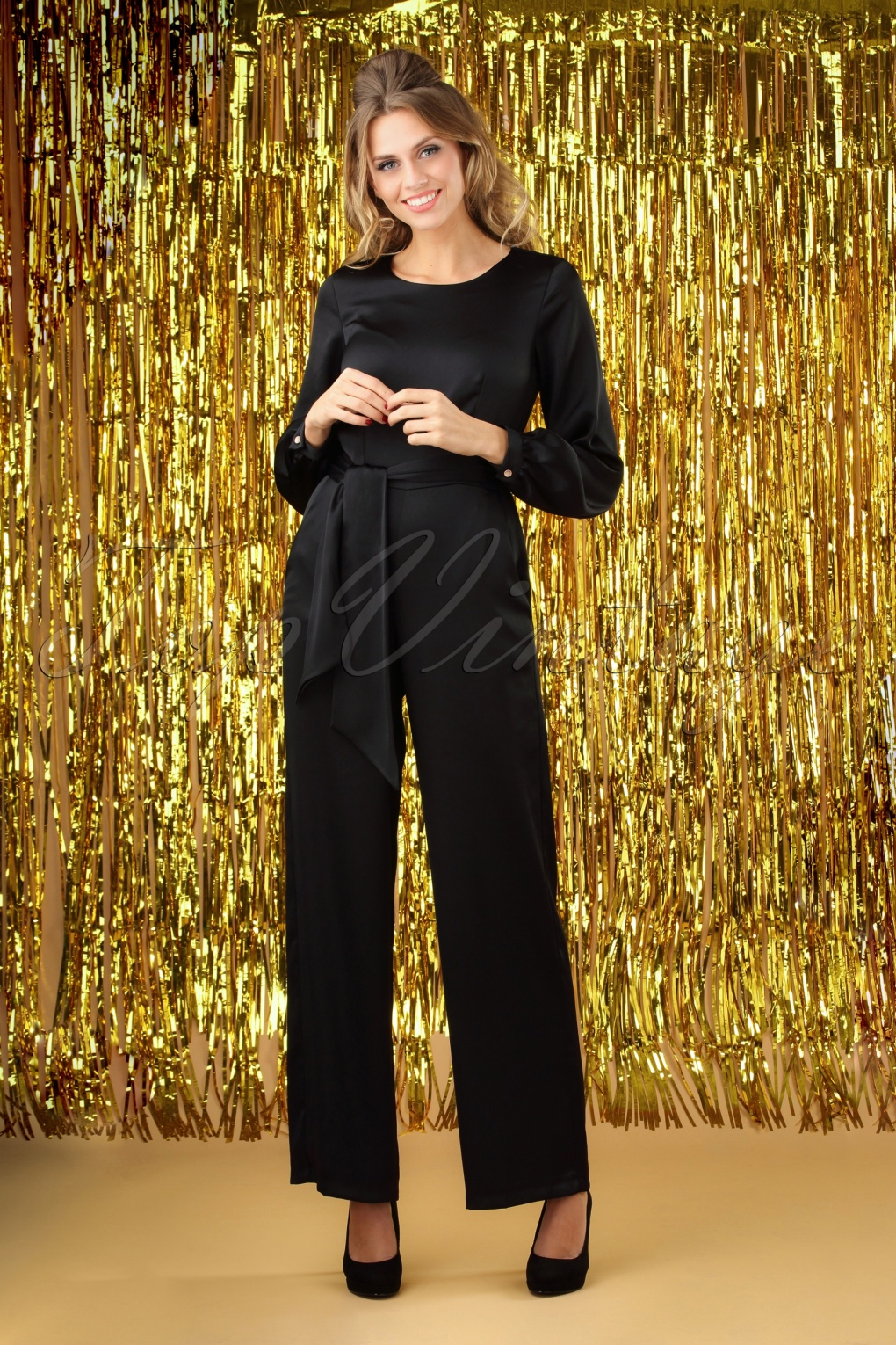 Vintage High Waisted Trousers, Sailor Pants, Jeans 70s Satin Puff Sleeve Jumpsuit in Black £45.61 AT vintagedancer.com