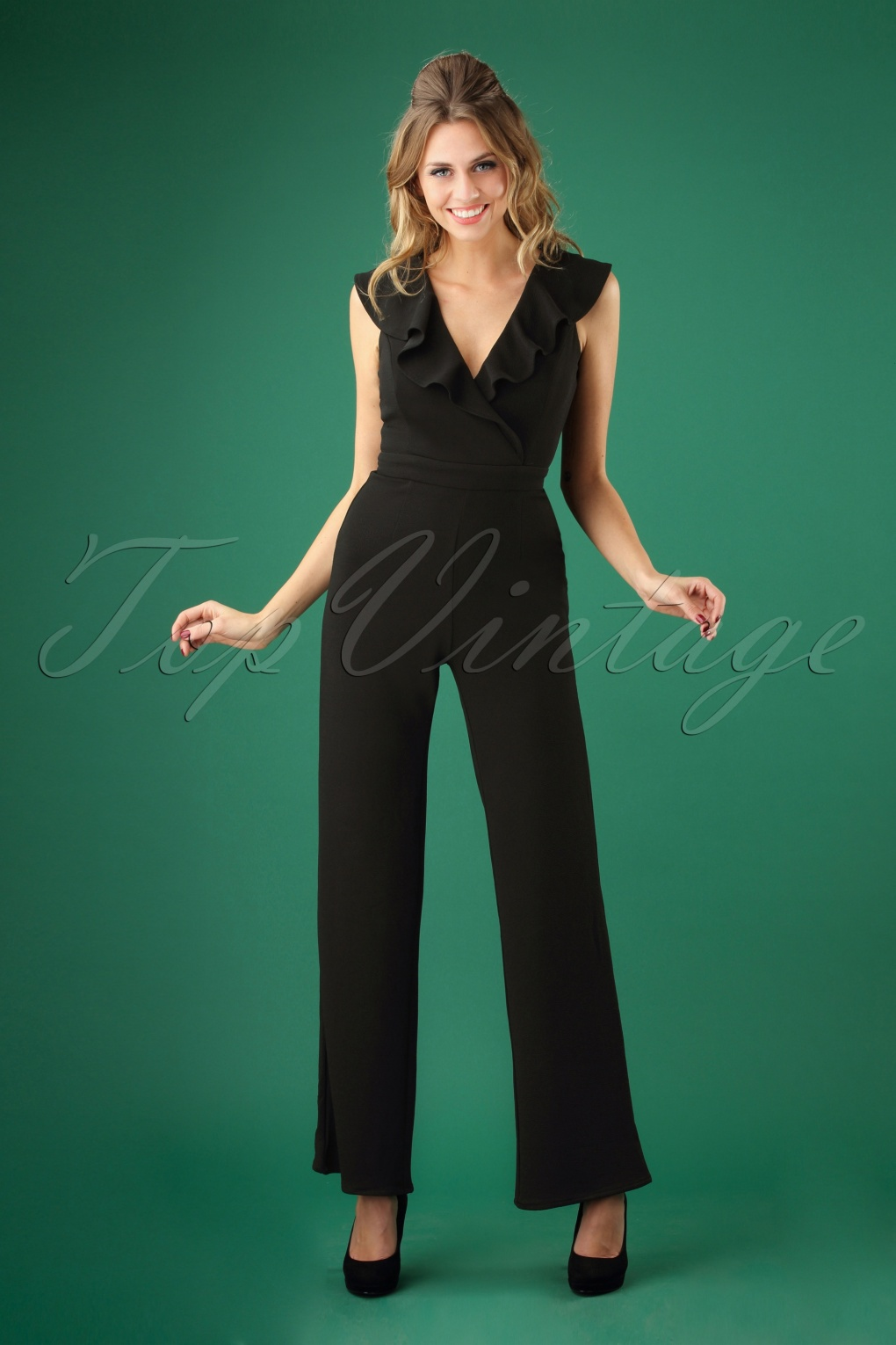 Vintage High Waisted Trousers, Sailor Pants, Jeans 70s Venceslada Jumpsuit in Black £65.01 AT vintagedancer.com