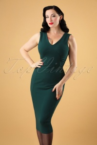 50s Sherry Pencil Dress in Forest Green