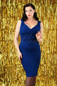 50s Marty Glitter Pencil Dress in Royal Blue