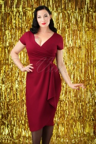 50s Crystal Pencil Dress in Wine Red
