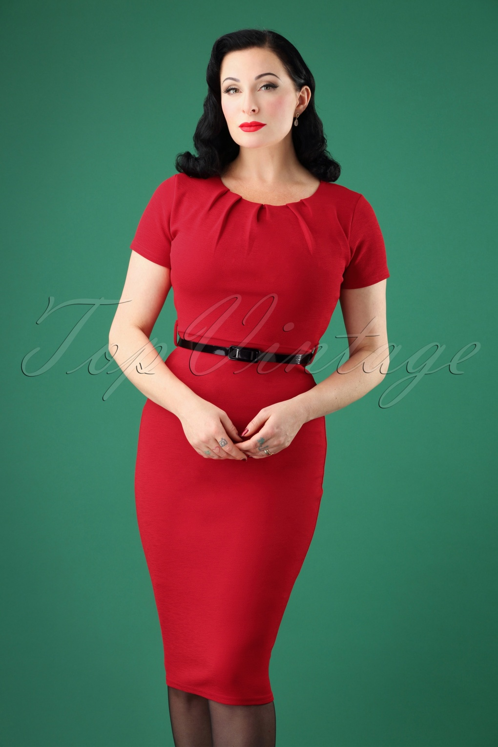 Vintage Christmas Dress | Party Dresses | Night Out Outfits 50s Valery Midi Pencil Dress in Lipstick Red £34.08 AT vintagedancer.com