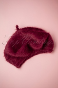 60s Faux Fur Beret in Burgundy